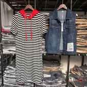 欧洲站夏季新款牛仔马甲条纹连衣裙两件套休闲连帽中长款卫衣套装
