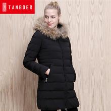 坦博尔冬季新款大毛领带帽中长款羽绒服女修身收腰外套TD3678图片