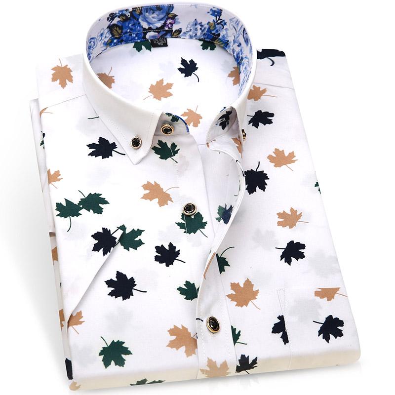男士夏季印花短袖衬衫韩版时尚休闲
