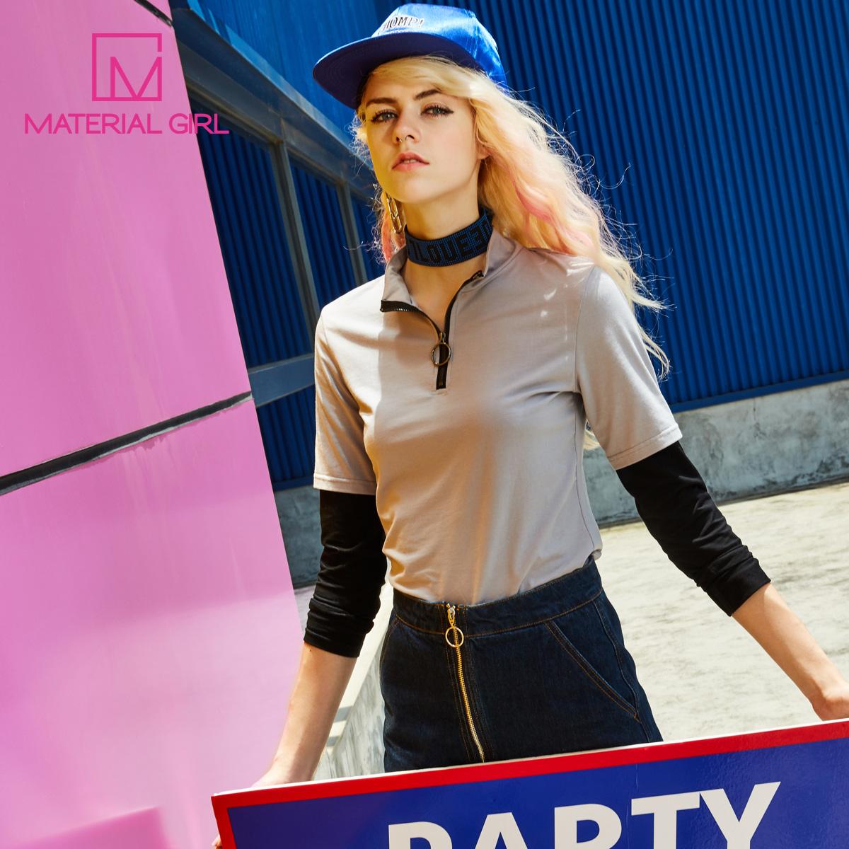 【买三免一】假两件长袖T恤 时尚撞色防晒上衣 立领修身纯色T恤女