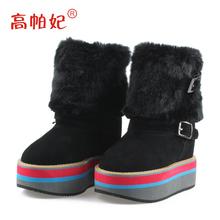 高帕妃韩版冬季棉靴加绒坡跟内增高短靴12cm松糕女靴子厚底毛毛靴图片