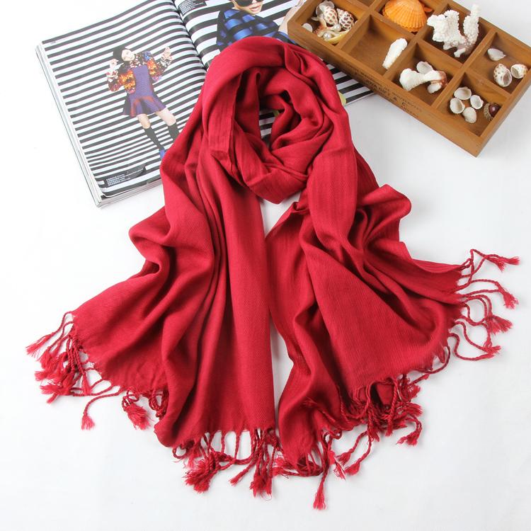 围巾女冬季纯棉流苏大围巾纯色长款围巾披肩两用保暖围脖B06