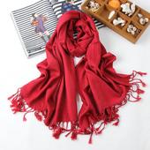 围巾披肩两用保暖围脖B06 围巾女冬季纯棉流苏大围巾纯色长款
