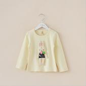 2014秋季新款 韩国品牌童装 女童 可爱立体毛绒兔子纯棉长袖T恤