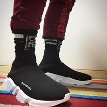 夏季英伦高帮休闲弹力袜子鞋情侣运动鞋巴黎鞋男女厚底增高鞋潮