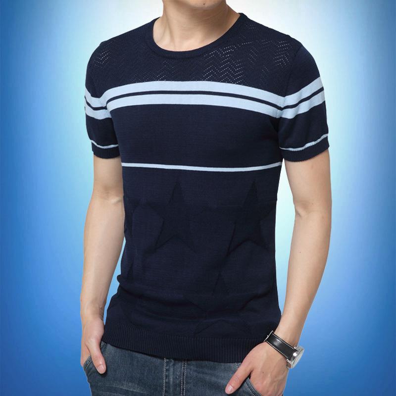 青年體恤修身個性 條紋男士圓領夏季針織短袖