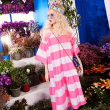 妖精的口袋夏装女2017新款V领宽条纹撞色连衣裙中长裙子图片