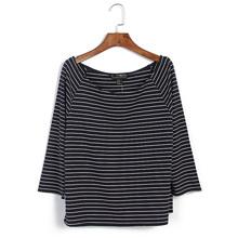 欧美秋季新款外贸原单大码女装七分袖条纹宽松T恤胖MM显瘦上衣潮