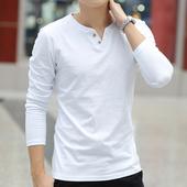 纯色加绒上衣服 V领体恤纯棉圆领修身 长袖 打底衫 春秋T恤潮男装 男士