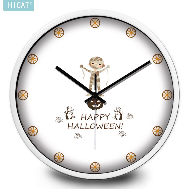 HICAT可爱卡通木乃伊儿童房客厅超静音圆形挂钟 个性创意石英钟表