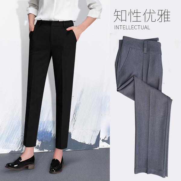 九分西裤女职业灰色黑色西装裤女直筒长裤夏正装裤休闲高腰烟管裤