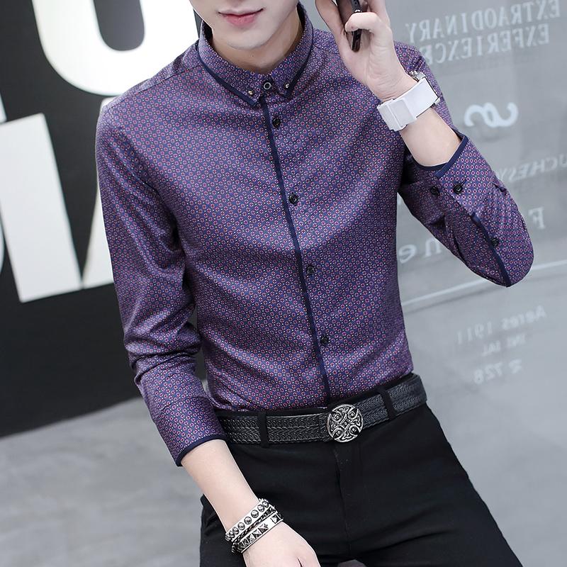 薄款男士夏季长袖寸衬衫商务休闲修身青年韩版潮流男装春秋衬衣
