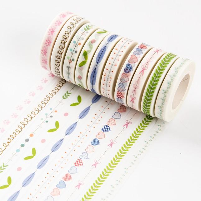 可爱彩色印花装饰和纸细胶带 diy分割线相册手帐日记本小清新贴画