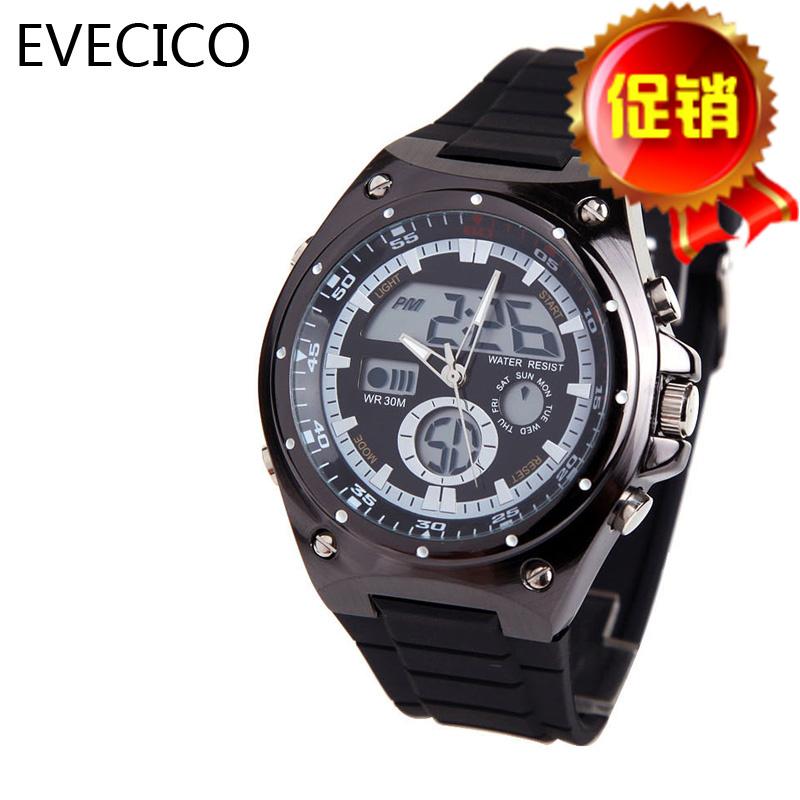 正品EVECICO双显led表金属男表运动全钢皮带闹钟防水男士手表