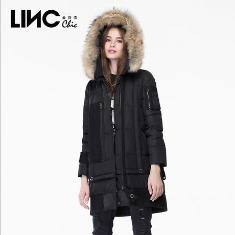 LINC金羽杰冬装织带拼接大毛领羽绒服女中长款宽松韩版外套631361商品大图