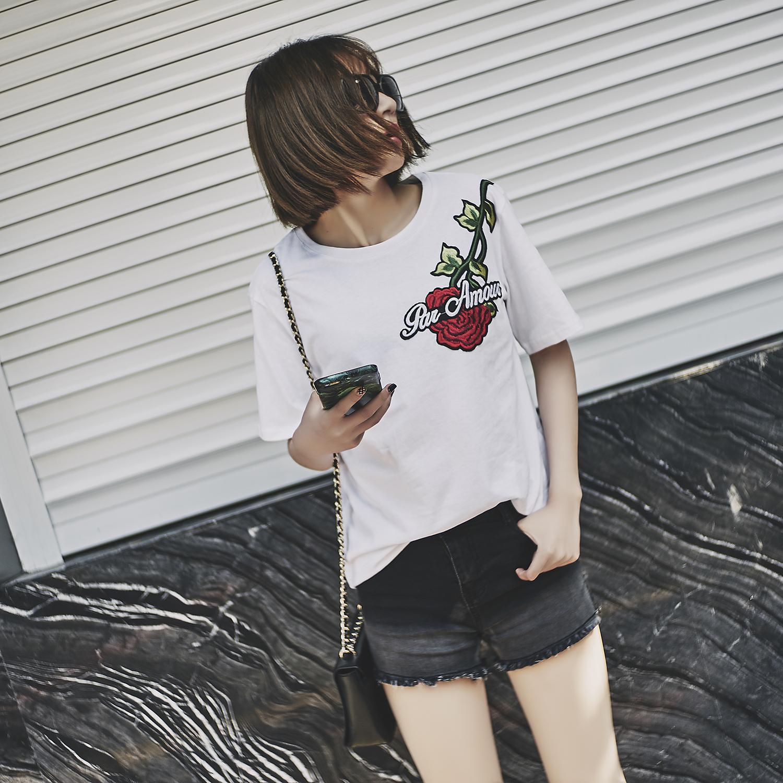 打底半袖白色短袖上衣圓領韓國寬松大門刺繡純棉夏裝