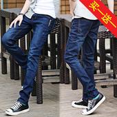 秋冬款牛仔裤男小脚裤修身型青少年学生韩版显瘦个性弹力长裤子男