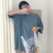夏装韩版简约宽松纯色七分袖T恤 中长款百搭打底衫情侣学生上衣女