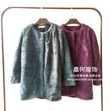 嘉何服饰2015新款出口日本原单女式毛毛圆领外套夹棉上衣冬季厚