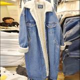 加肥加大码女装风衣中长款连帽加绒加厚棉衣冬装韩版宽松牛仔外套