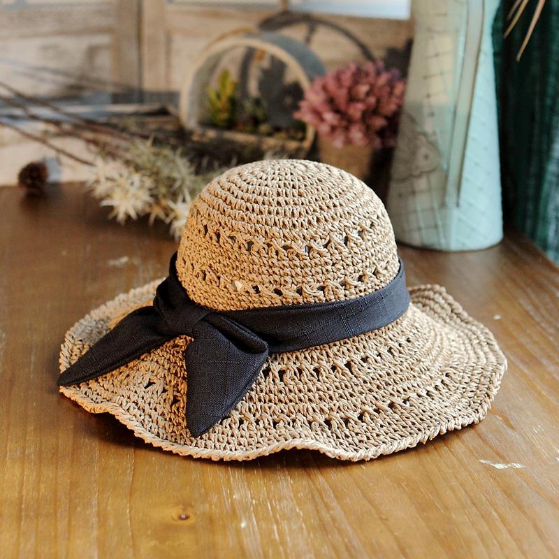 镂空草帽钩针沙滩太阳帽女士蝴蝶结遮阳帽大檐帽