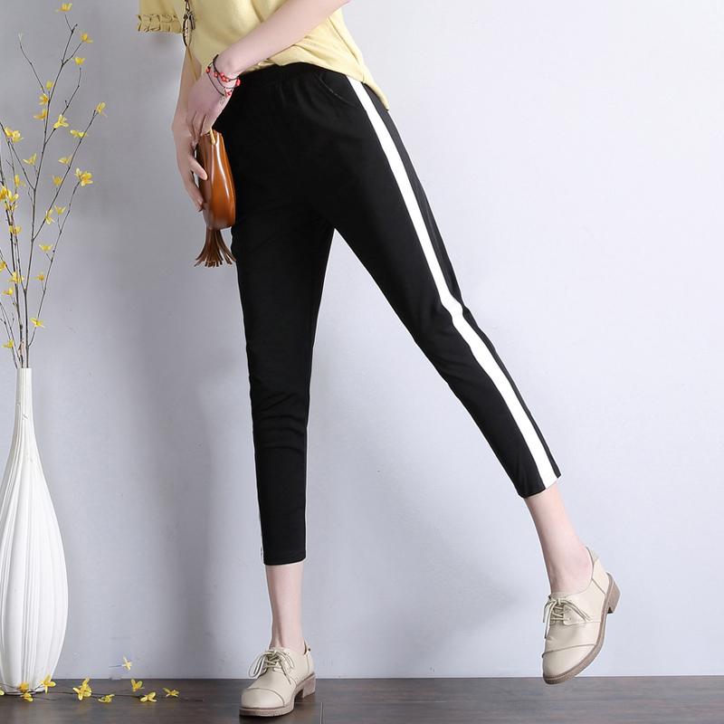 宽松九分裤女七分休闲女薄款运动裤黑色萝卜弹力