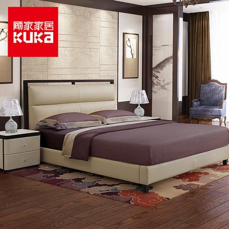 顧家家居 門店款軟床1.8米新中式雙人臥室家具實木真皮床商品大圖