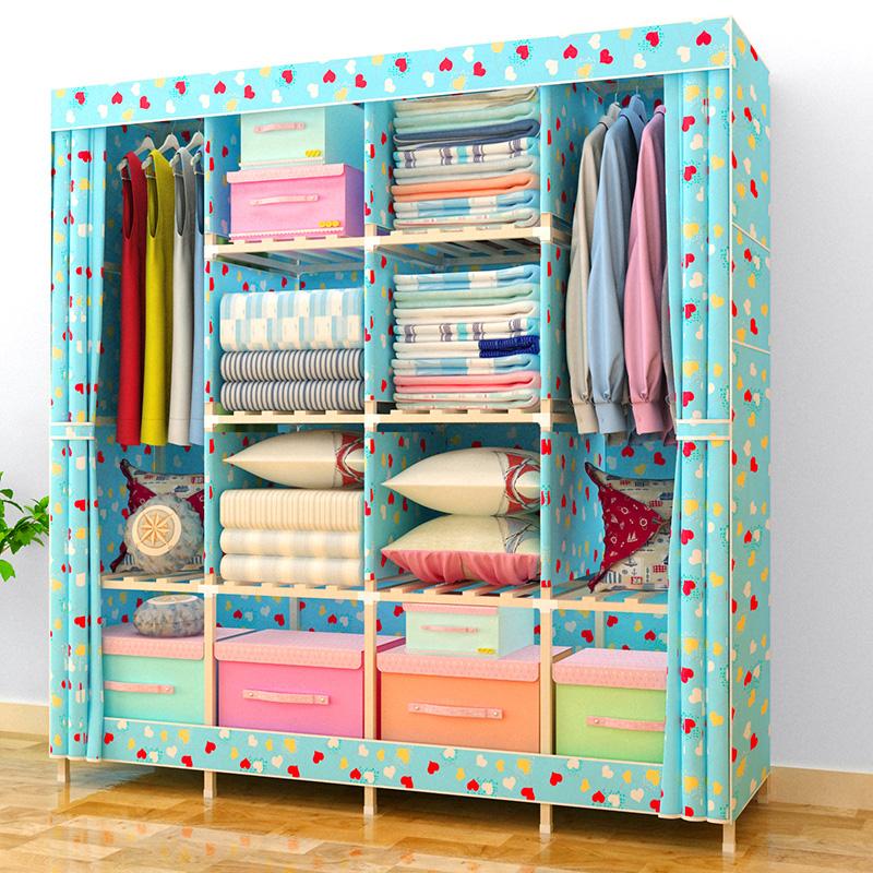 双人简易衣柜收纳实木成人棉布衣柜折叠组合儿童组装牛津布艺衣橱
