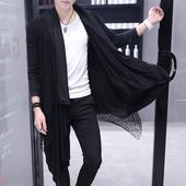 青年个性风衣男士修身薄款披风春夏季理发型师帅气外套潮流上衣服