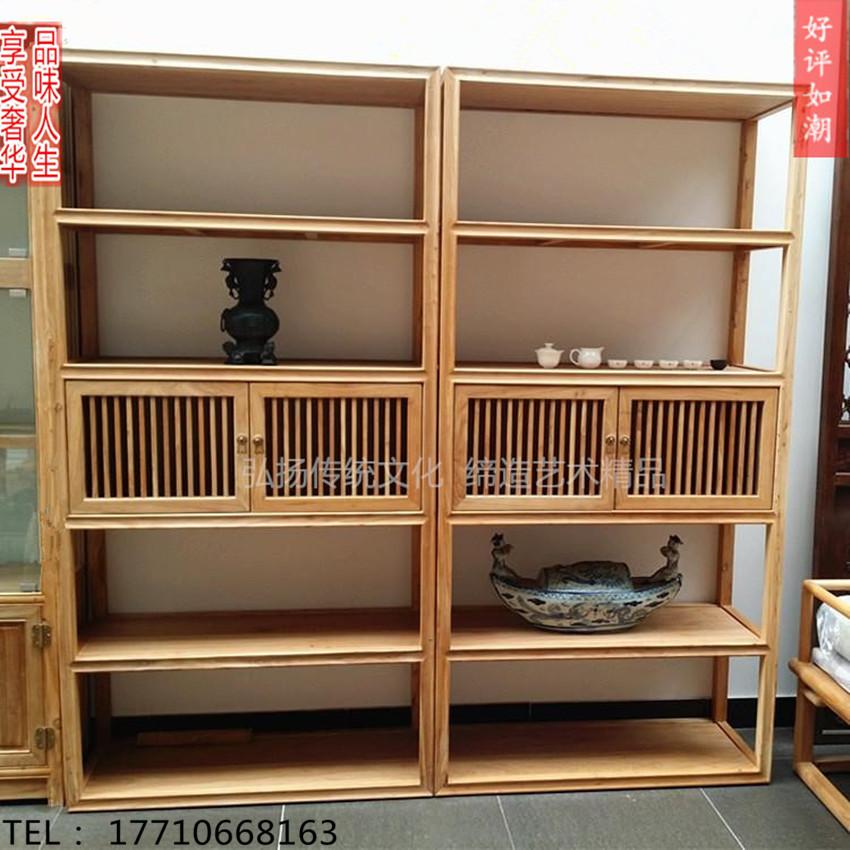 新中式老榆木免漆书柜茶叶柜书架仿古全实木展架简约书橱人气家具
