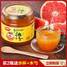 [买2送杯勺]福事多蜂蜜柚子茶500g 韩国风味水果茶蜜炼酱冲饮品