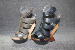 特价UN女鞋经典个性跟罗马牛皮异型跟凉鞋超高跟鞋舒适超轻木底RF
