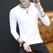 男士秋季长袖t恤男韩版纯色修身型上衣青年套头体恤打底衫衣服潮