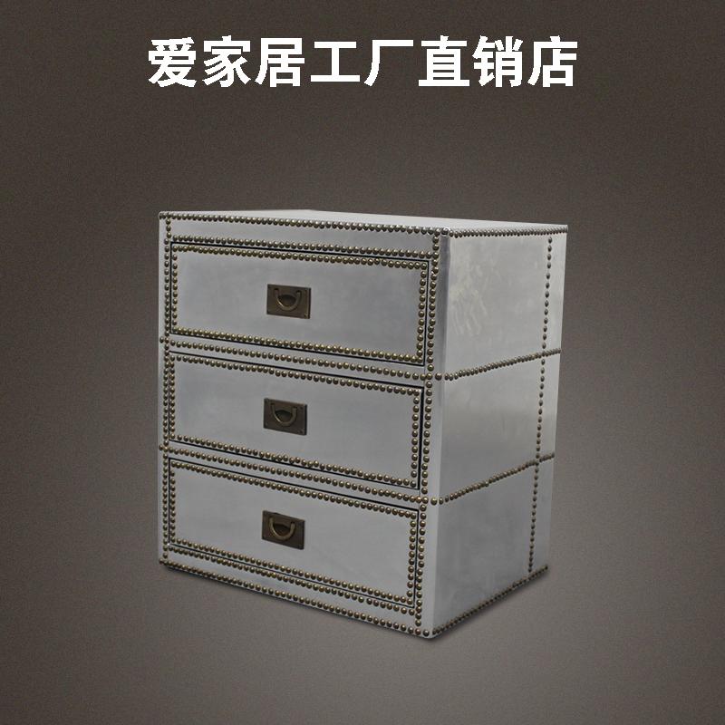 欧式复古铝皮床头柜 储物床头柜