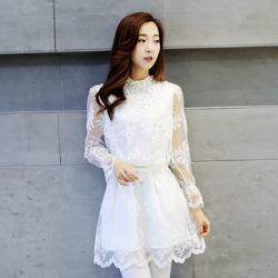 2016新款韩版大码女装修身长袖淑女雪纺公主裙蕾丝打底连衣裙春装