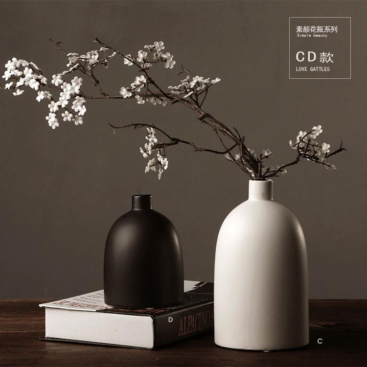 美式日式禅意中式家居饰品摆件 手工装饰花插 黑白色简约陶瓷花瓶