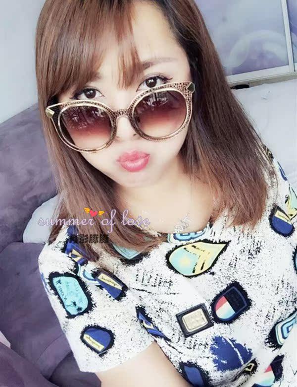 2015韩范豹纹墨镜  韩国进口新款防紫外线太阳镜复古简约配饰女包