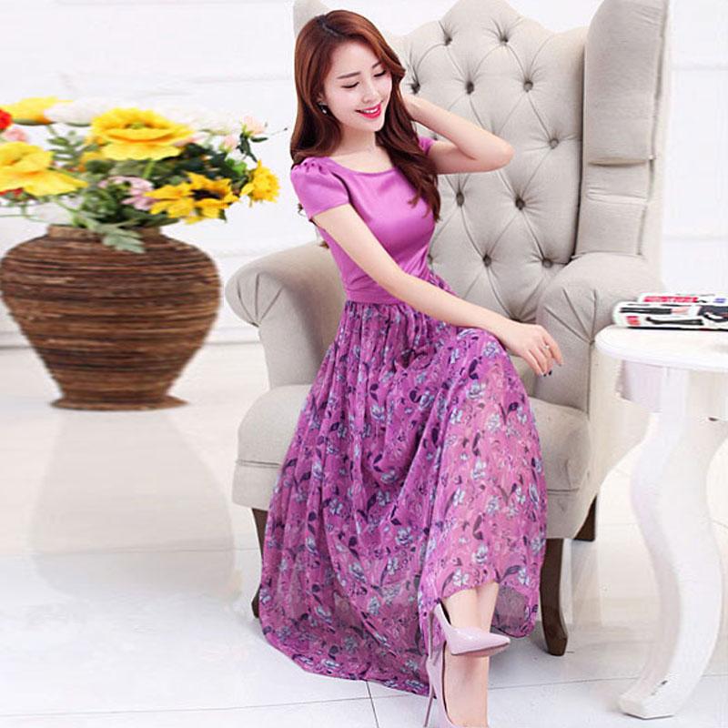 2017夏装新款韩版大码女装夏季中长裙子短袖碎花印花雪纺连衣裙女