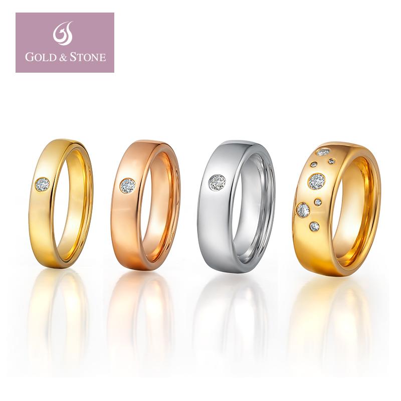 金石盟18k玫瑰金钻戒女钻石戒指女戒婚戒对戒结婚订婚戒指定制P8