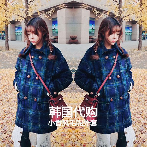 东大门2015秋冬新款韩版毛呢外套女 韩范中长款格子宽松呢大衣潮