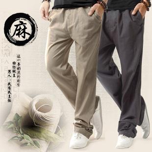 亚麻裤男宽松直筒薄款棉麻裤运动裤中国风男装休闲长裤大码裤子夏