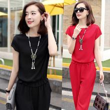 雪纺套装女夏 2017女夏装新款韩版两件套女装夏季休闲时尚气质潮