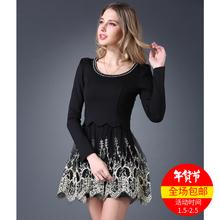 下摆绣花 女士连衣裙显瘦装 秋装 品牌春秋圆领假两件艾格长袖
