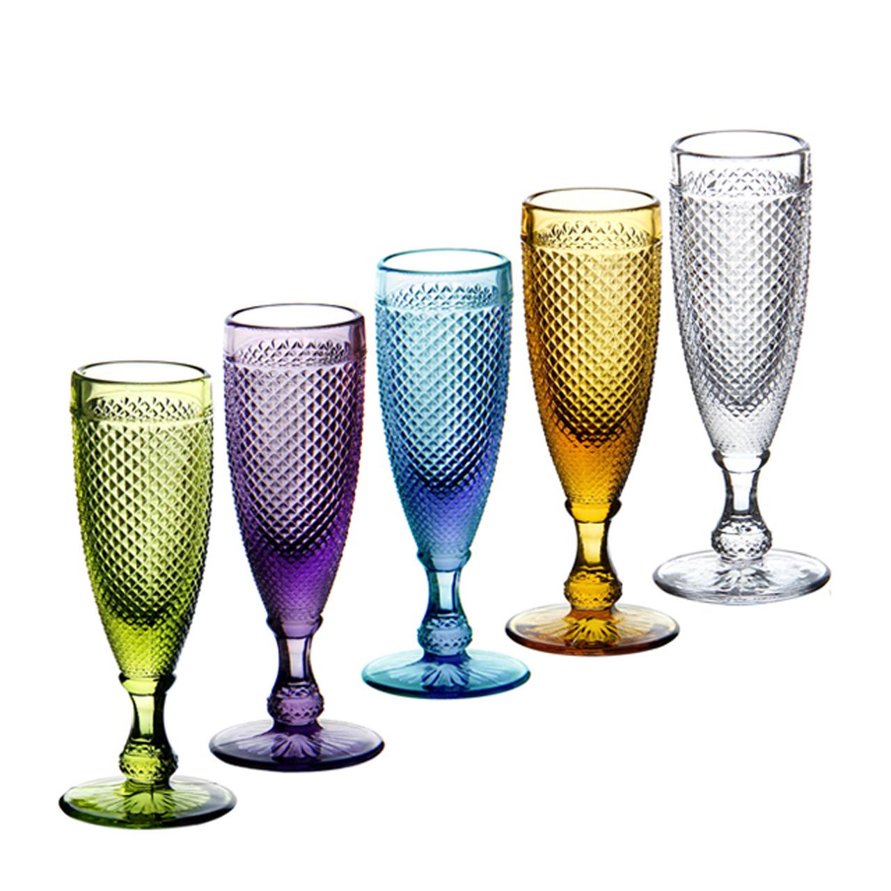 复古红酒杯套装欧式香槟杯创意高脚杯家用彩色玻璃小