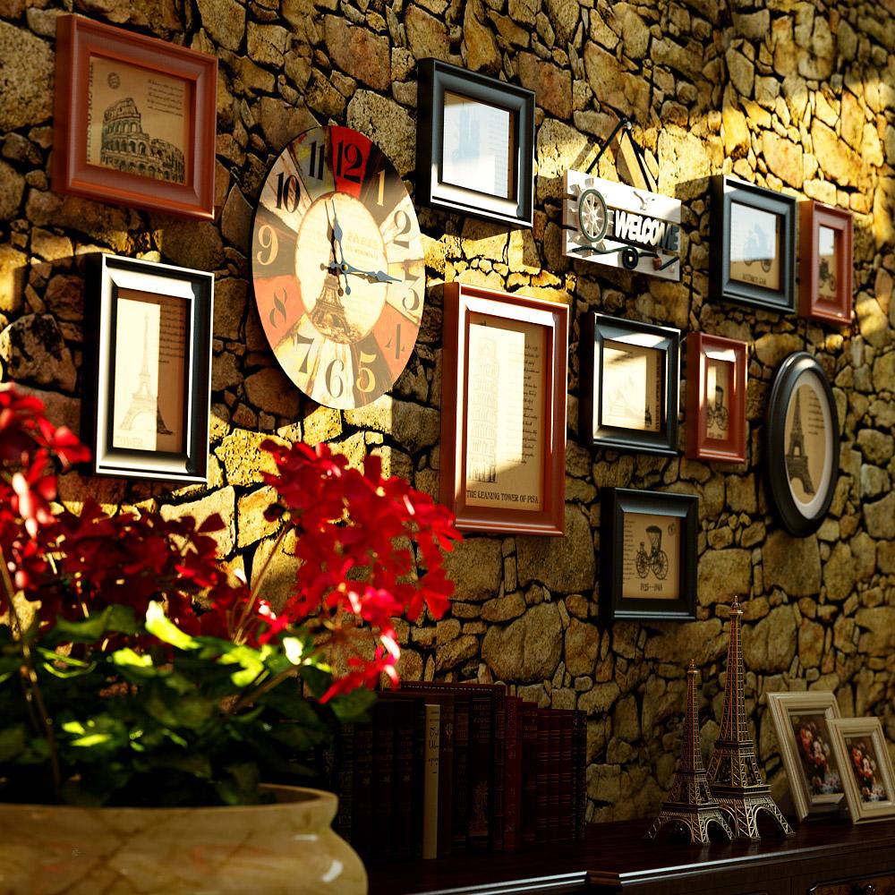 欧式复古照片墙带钟表客厅实木相框墙挂墙相框创意