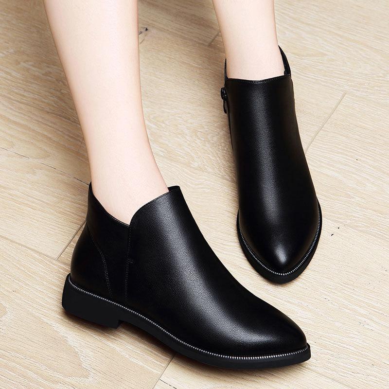 百年纪念真皮女鞋短筒靴子2016冬季新款平底短靴英伦风马丁靴时尚