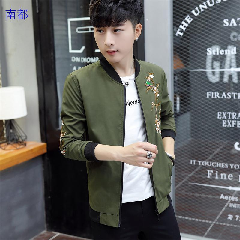 Army green jacket 2017 new trend all-match handsome male Kor